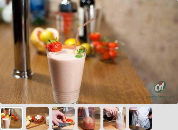 ...освежающий молочный коктейль с пломбиром.  Приготовить его просто...