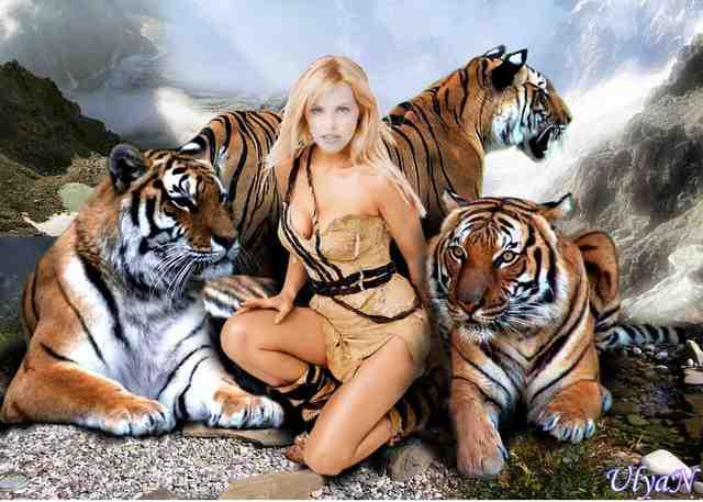 Красивые фото девушек с животными, зверями - девушка со львом, медведем, ти
