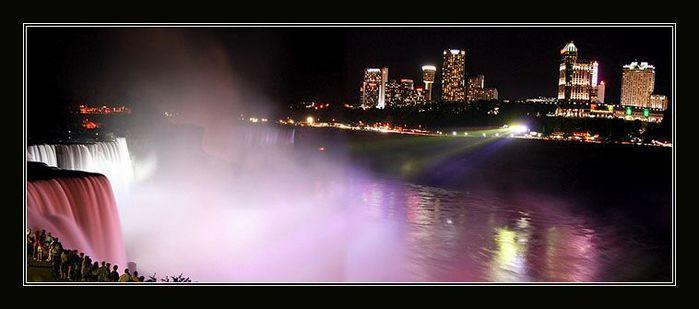 Ночная съемка ниагарского водопада