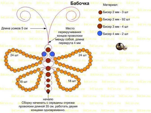 бабочки из бисера схемы.