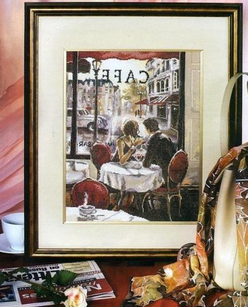 """СХЕМА.  Вышивка  """"Завтрак в Париже """" ."""