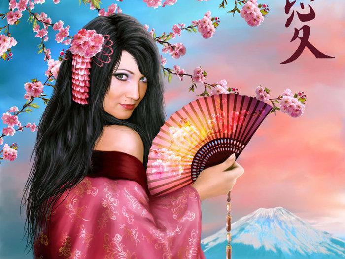 """Теги.  Гамма, 60 цветов.  Портал  """"Вышивка крестом """". девушка с сакурой.  0. Алла17.  Схема вышивки  """"гейша2 """". девушка."""