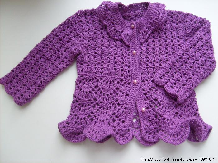 Одежда для девочек ручной работы.  Кофточка для малышки.  Оксана.
