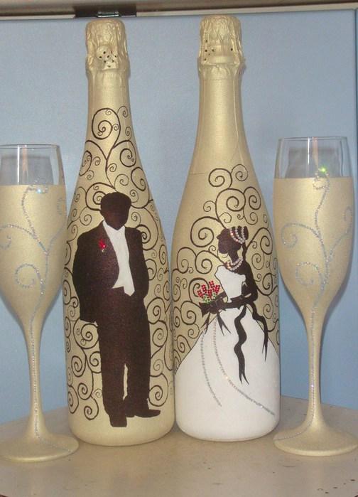 Жених и невеста на бутылки своими руками