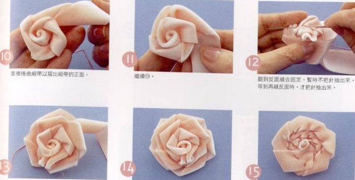 Цветок из атласных лент,