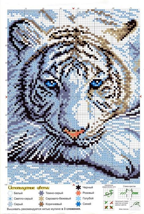 вышивание тигр.