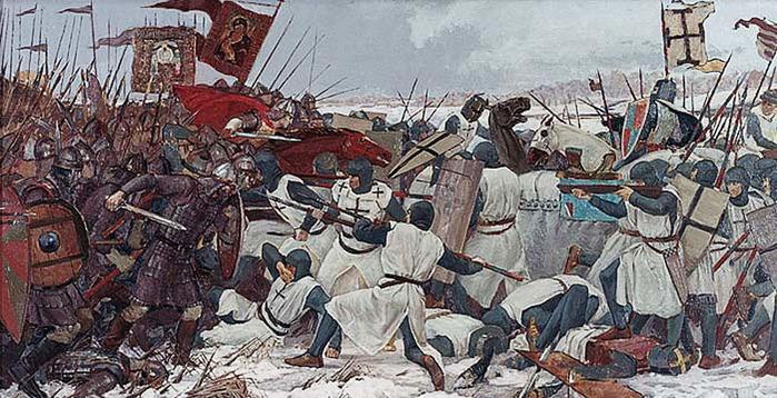 "Schlacht auf dem Eise, лат.  Prœlium glaciale -  ""Ледовая битва ""), также битва на Чудском озере (нем."