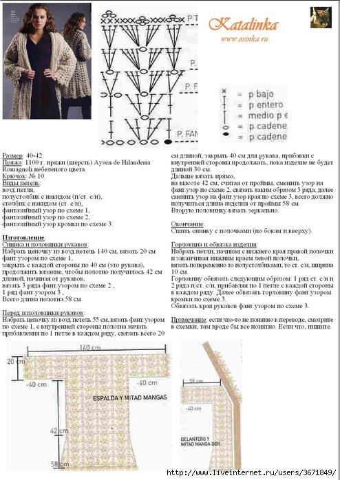 Подробное описание вязания кардигана на размер 56 13