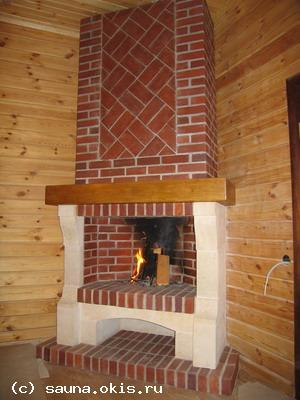 камин в деревянном доме.