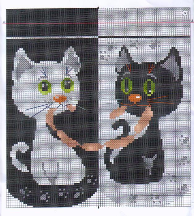 вышивка белый и черный кот с сосисками, схема.