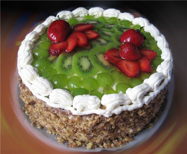 Торт бисквитный с фруктами рецепт с фото в домашних условиях