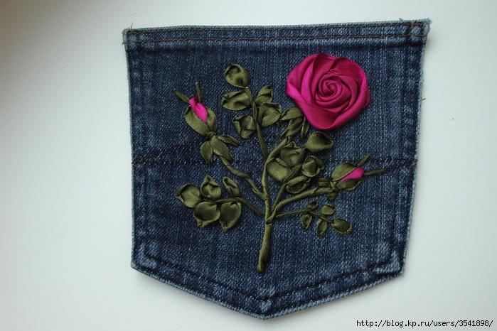 Вышивка лентами на джинсах 98