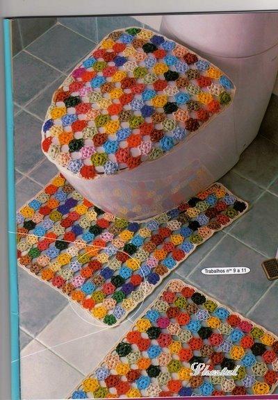 Вязанные коврики для туалета и ванны