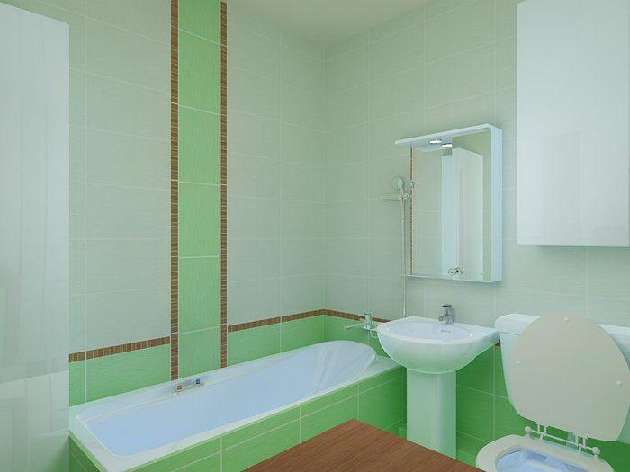 Дизайн ванной в светло - зеленых тонах в хрущевке, фото 1. Ванная
