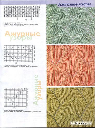 Схемы ажурных узоров. вязания спицами. для.