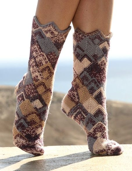 вязание спицами со схемами носки.