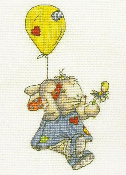 """Вышивка  """"Зайка на воздушном шарике """" ."""