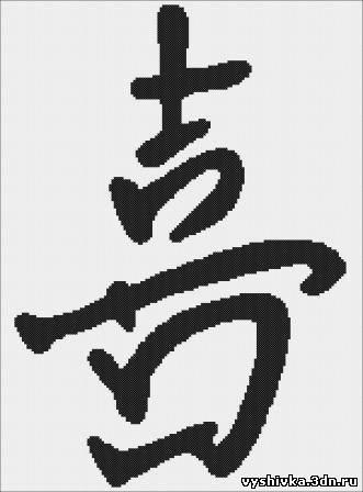 """Иероглиф  """"Счастье """" - знак добрых пожеланий.  Этот символ пробуждает душевную силу и внутреннюю энергию."""