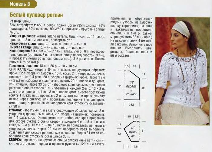 Вязание регланом снизу для женщин 190