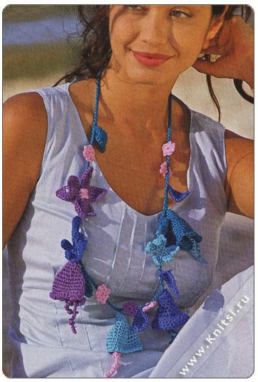 Материалы: по 50 г бирюзовой, сиреневой, синей, розовой и голубой пряжи Toccata (99% хлопка, 110 м/50 г); крючок 3,5...