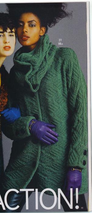 Вяжем длинное пальто, схема вязания пальто спицами, теплый свитер...