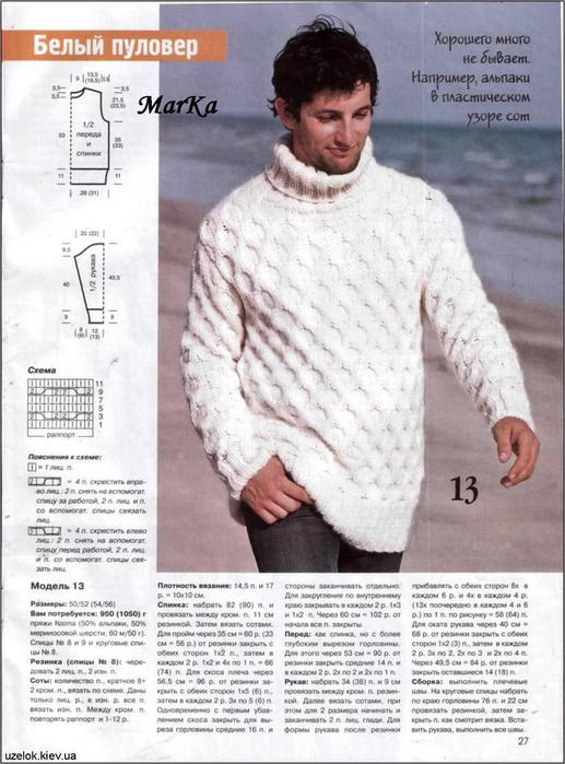 вязаные мужские свитера с описанием - Сумки.