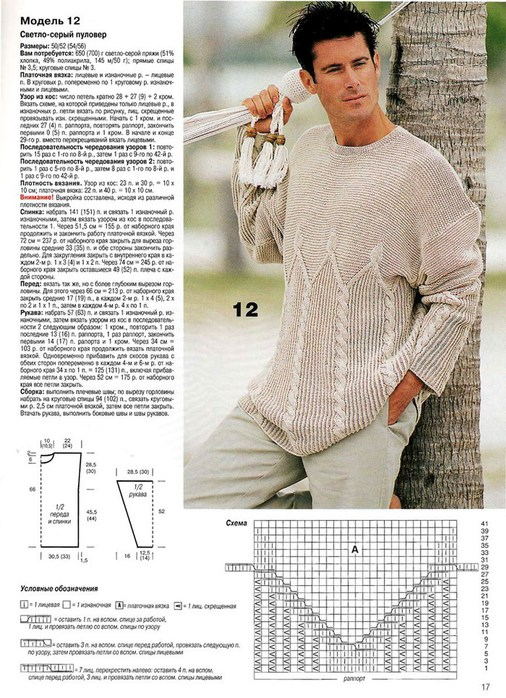 Схема вязаных пуловеров для мужчин