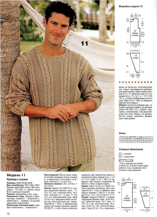 Вязание мужские модели описанием