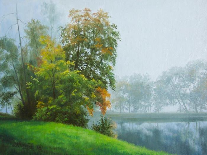Дождь был почти невидим.  Только деревья вдали...  Елагин.