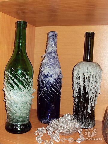 Украшение бутылок солью