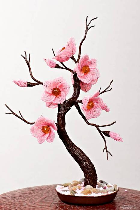 Мастер - класс Елены ХотулС вой деревья из бисера схемы, бисерные.