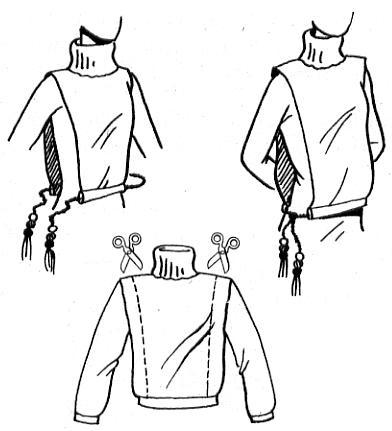 Ее можно сделать из поднадоевшего или старенького свитера, сохранив воротник и переднее и заднее полотнища свитера.