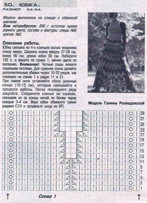 Вязание узоров для юбок спицами схемы 823
