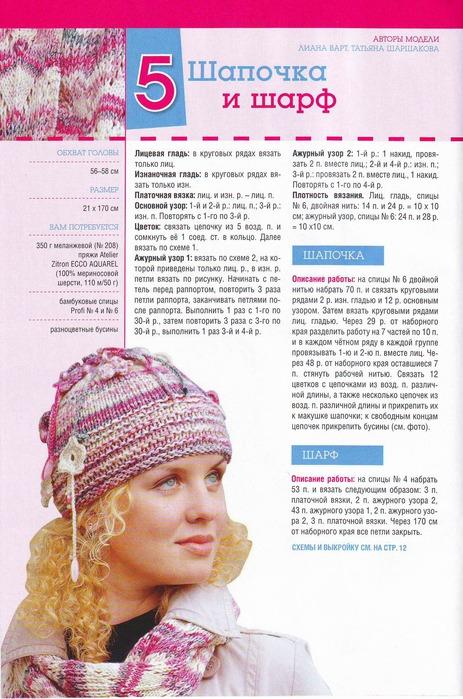 Описание: как связать женскую шапку с помпоном, шарф хомут крючком. .