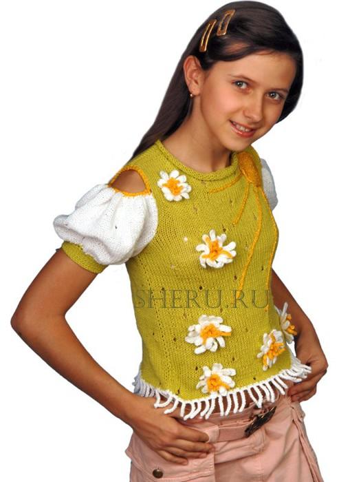 Как украсить вязаную кофту своими руками детскую