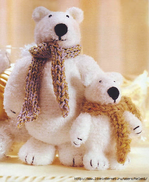 белые медведи - игрушки вязаные крючком своими руками.