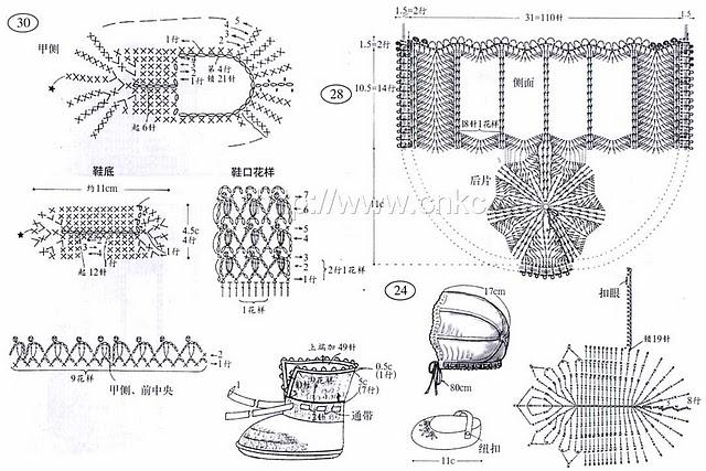 схемы вязания пинеток