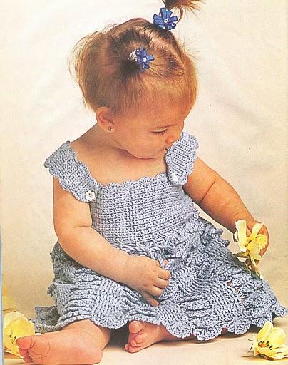 001 Вязаное детское платье - сарафан , описание работы, вязание для детей от 0 до 3 лет.