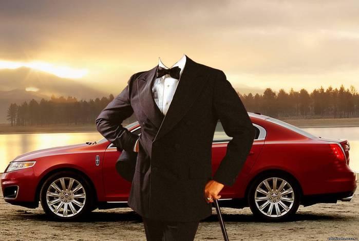 Мужчина с авто Шаблоны для Photoshop