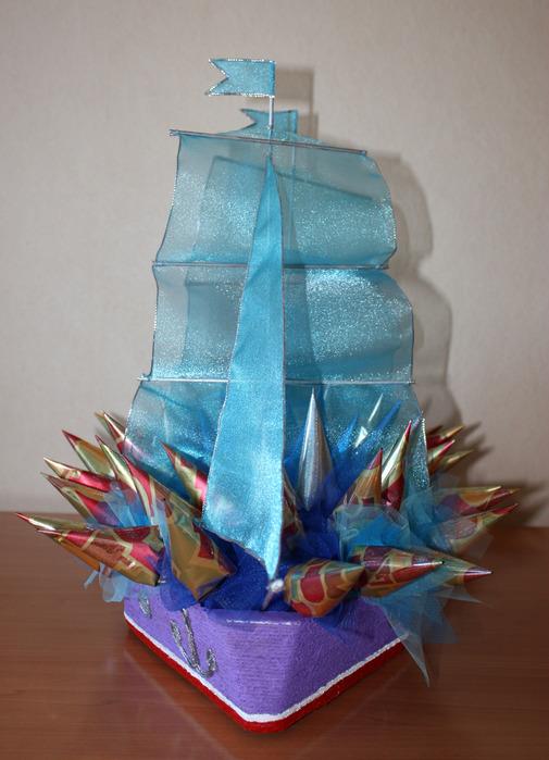 """""""Часть 1 - Свадебный корабль из конфет Часть 2. Декорирование цветочного горшка.  Часть 3. Рождественский венок."""