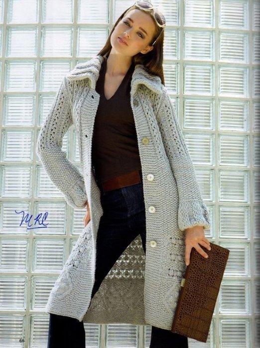 Вязание спицами.  Галерея женских вязаных моделей со схемами и описанием.  Длинные жакеты, пальто, кардиганы.