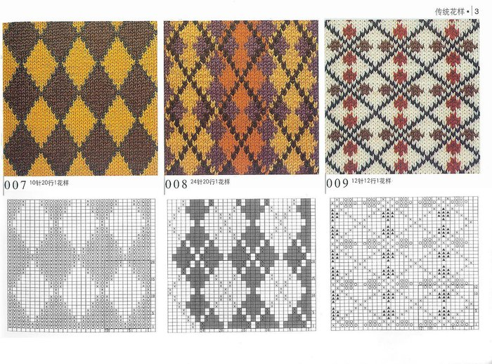 Узоры для вязания спицами с цветными 983