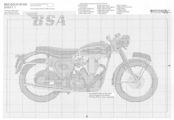 Схема вышивки мотоцикл черно-белая