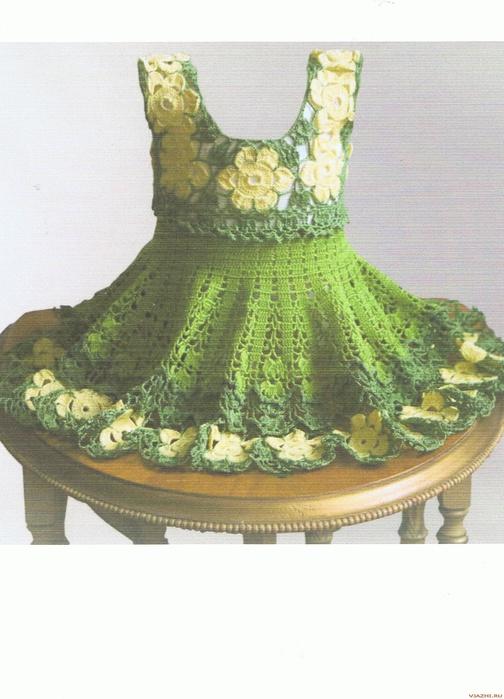 001 Уникальное вязаное цветочное платье для девочки., описание работы...