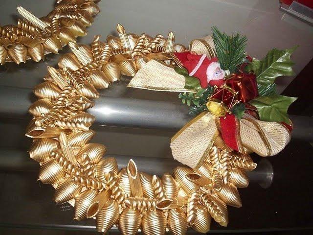Новогодняя поделка из макарон своими руками фото