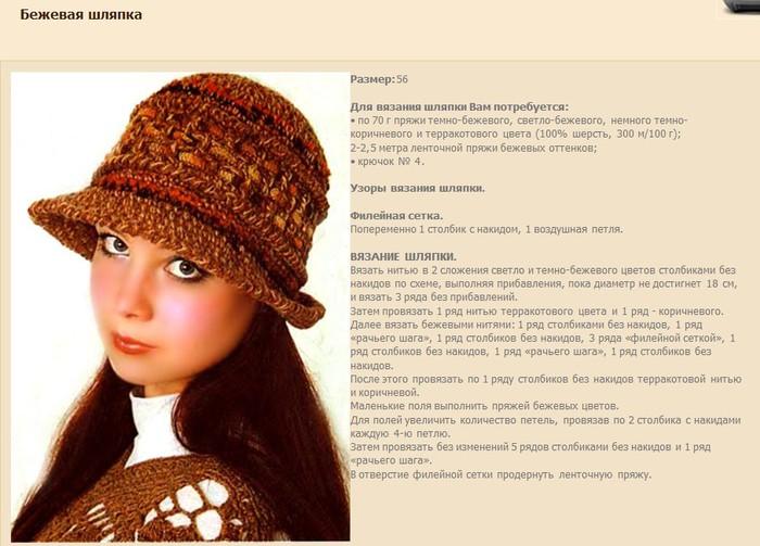 Шляпка женская связать спицами