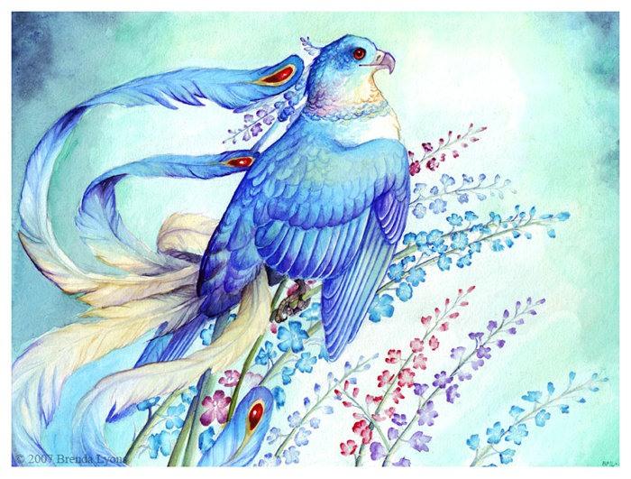 синяя птица схема вышивки