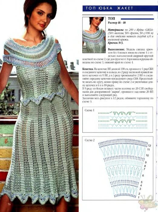 Платья и юбки связанные крючком