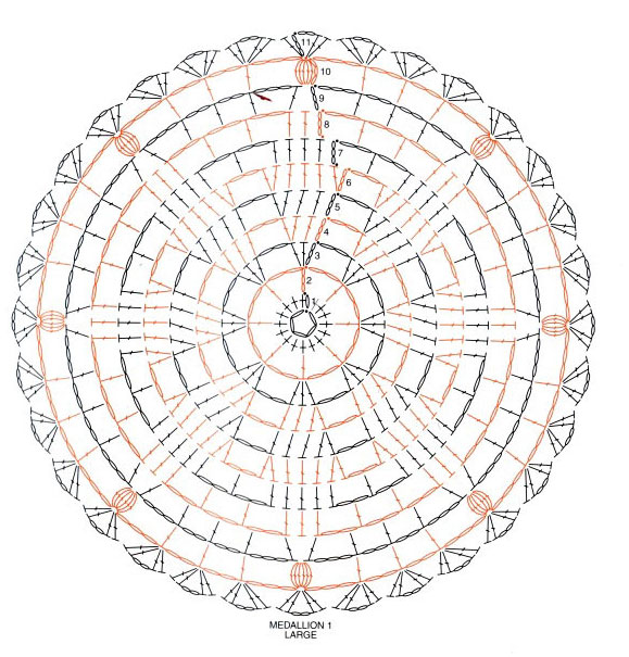На схеме обозначен буквой L (large).  Шаль связана из акрила крючком 4 и 5. Необходимо связать несколько мотивов и...