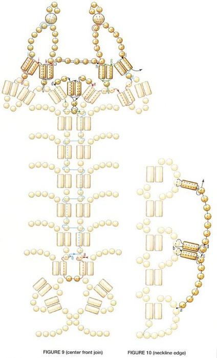 схема белого колье из бисера. плетение белоснежного колье.